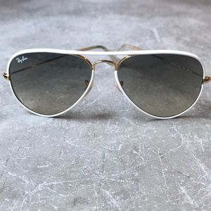 Ray-Ban Aviator White and Gold